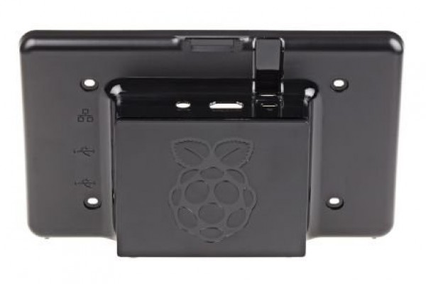 Black case for Raspberry Pi board and Raspberry Pi LCD touch screen