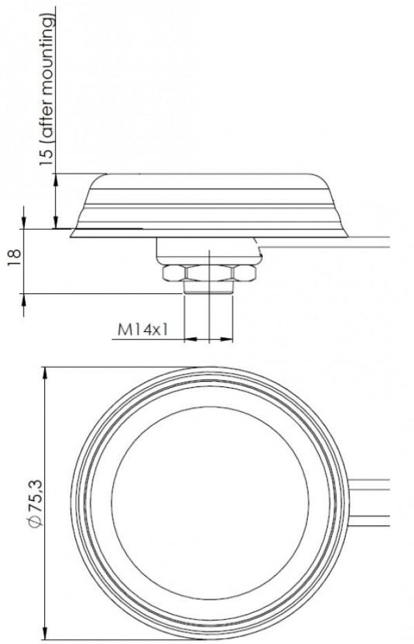 Antenne Dôme 868Mhz SMA Câble 2m