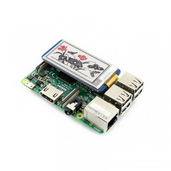 212x104, 2.13 inch E-Ink display HAT for Raspberry Pi, three-color