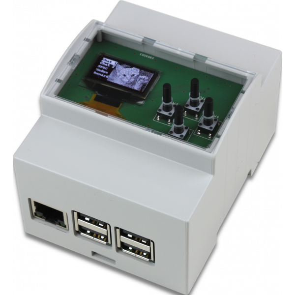 DIN Rail 4M enclosure with OLED display and 4 keys keypad